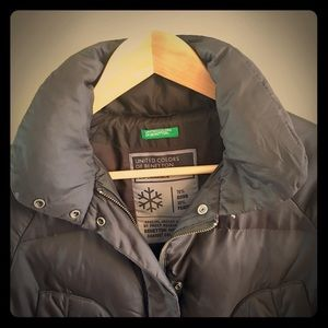 Benetton. Warm black winter coat. No hood.